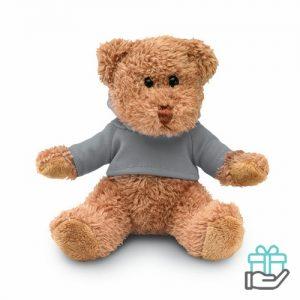Teddybeer hoody grijs bedrukken