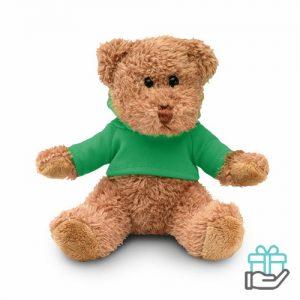 Teddybeer hoody groen bedrukken