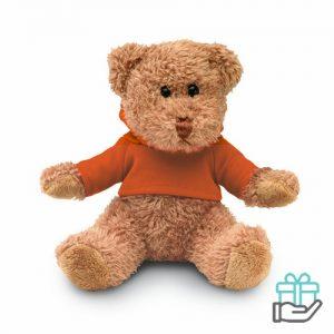 Teddybeer hoody oranje bedrukken