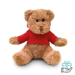Teddybeer hoody rood bedrukken