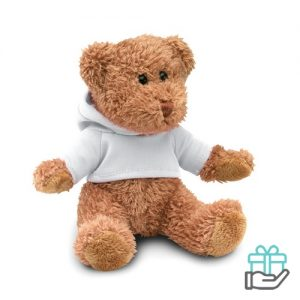 Teddybeer hoody wit bedrukken