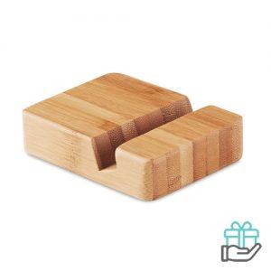 Telefoonstandaard eco bamboe houtkleur bedrukken