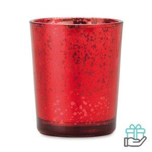 Theelichthouder glas glans rood bedrukken