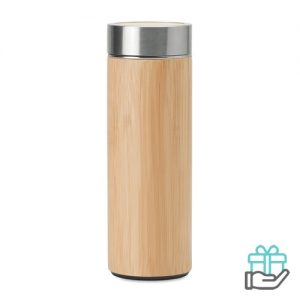 Thermosfles bamboe afwerking 400ml houtkleur bedrukken