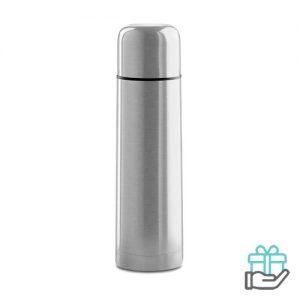 Thermosfles hip 500ml mat zilver bedrukken