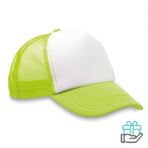 Truckers baseball cap neon groen bedrukken