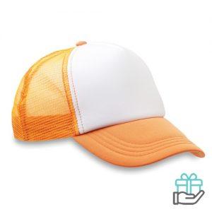 Truckers baseball cap neon oranje bedrukken