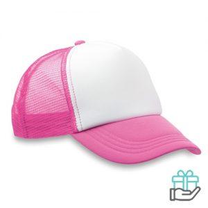 Truckers baseball cap neon roze bedrukken