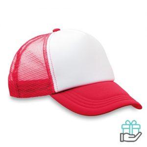 Truckers baseball cap rood bedrukken