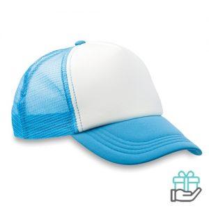 Truckers baseball cap turquoise bedrukken