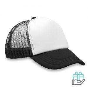 Truckers baseball cap zwart bedrukken