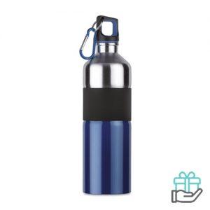 Tweekleurige drinkfles RVS 750ml blauw bedrukken