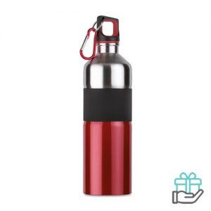 Tweekleurige drinkfles RVS 750ml rood bedrukken
