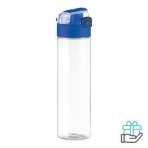 Veiligheidsslot drinkfles 600ml koninklijk blauw bedrukken
