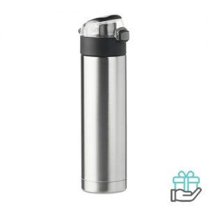Veiligheidsslot fles 400ml mat zilver bedrukken