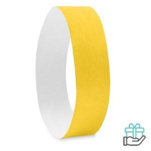 Vel 10 event armbandjes geel bedrukken