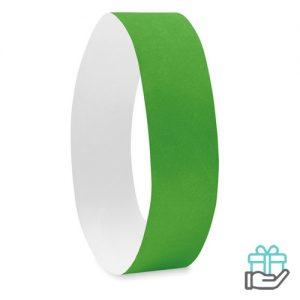 Vel 10 event armbandjes groen bedrukken