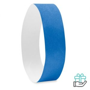 Vel 10 event armbandjes koninklijk blauw bedrukken