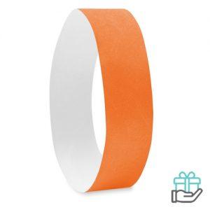 Vel 10 event armbandjes oranje bedrukken
