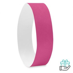 Vel 10 event armbandjes roze bedrukken
