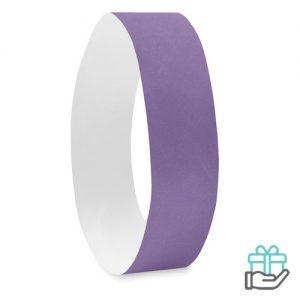 Vel 10 event armbandjes violet bedrukken