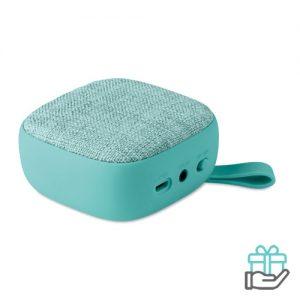 Vierkant bluetooth luidspreker turquoise bedrukken