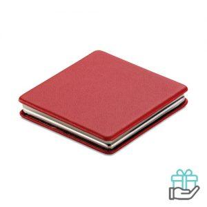 Vierkante magnetische dubbele spiegel rood bedrukken