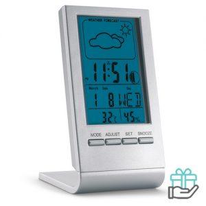 Weerstation blauw LCD display zilver bedrukken