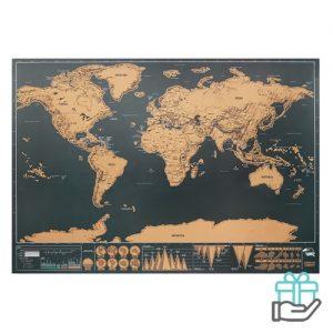 Wereldkraskaart beige bedrukken