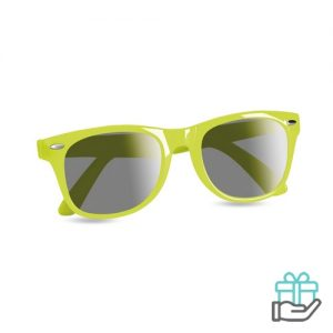 Zonnebril UV-bescherming limegroen bedrukken