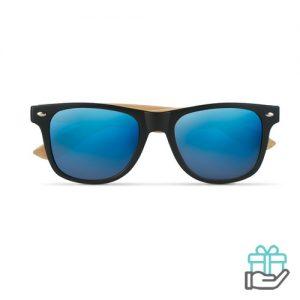 Zonnebril bamboe frame blauw bedrukken