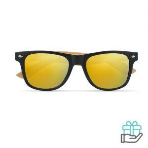 Zonnebril bamboe frame geel bedrukken