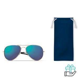 Zonnebril trendy etui koninklijk blauw bedrukken