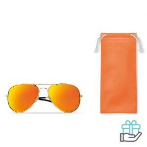 Zonnebril trendy etui oranje bedrukken