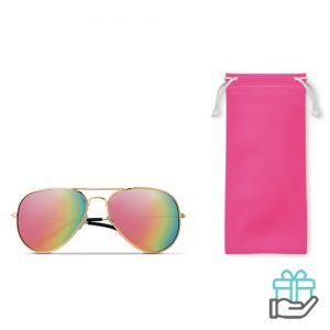 Zonnebril trendy etui roze bedrukken