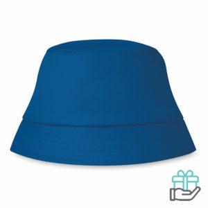 Zonnehoedje katoen koninklijk blauw bedrukken