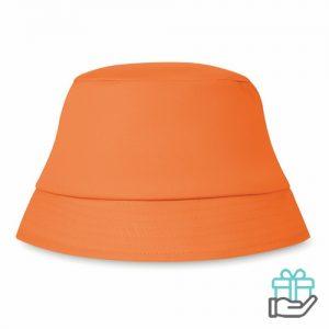 Zonnehoedje katoen oranje bedrukken